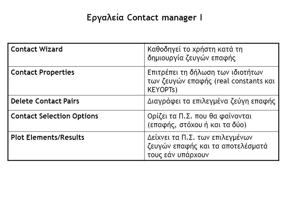 Εργαλεία Contact manager Ι