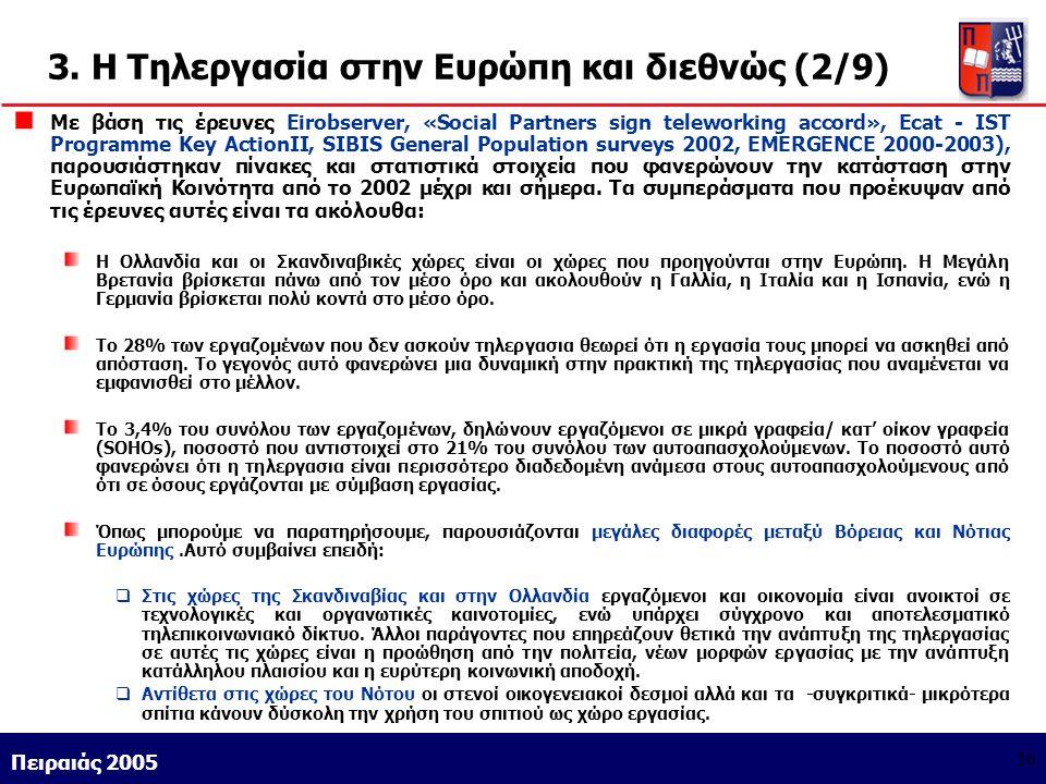 3. Η Τηλεργασία στην Ευρώπη και διεθνώς (2/9)