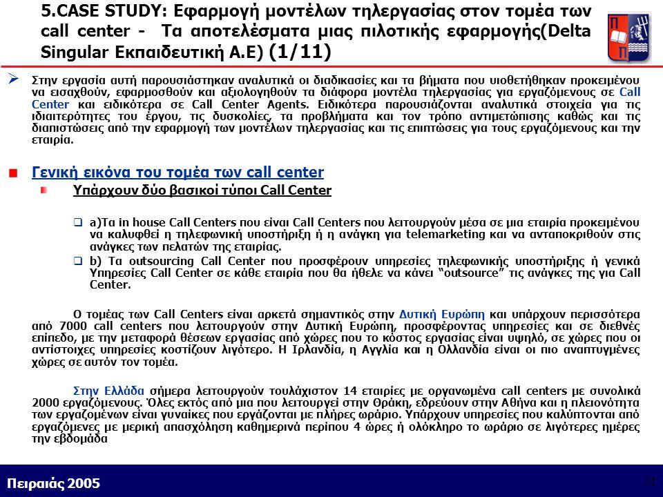 5.CASE STUDY: Εφαρμογή μοντέλων τηλεργασίας στον τομέα των call center - Τα αποτελέσματα μιας πιλοτικής εφαρμογής(Delta Singular Εκπαιδευτική Α.Ε) (1/11)