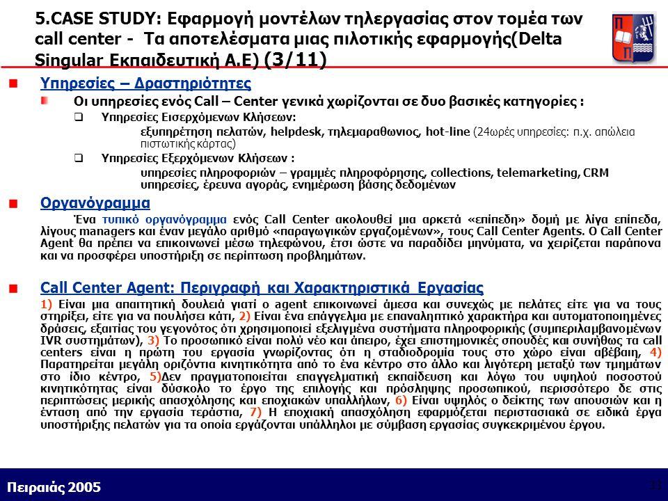 5.CASE STUDY: Εφαρμογή μοντέλων τηλεργασίας στον τομέα των call center - Τα αποτελέσματα μιας πιλοτικής εφαρμογής(Delta Singular Εκπαιδευτική Α.Ε) (3/11)