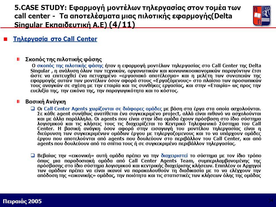 5.CASE STUDY: Εφαρμογή μοντέλων τηλεργασίας στον τομέα των call center - Τα αποτελέσματα μιας πιλοτικής εφαρμογής(Delta Singular Εκπαιδευτική Α.Ε) (4/11)