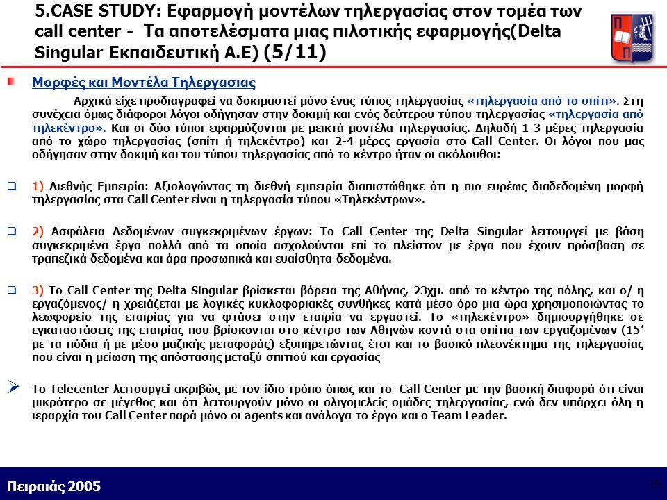 5.CASE STUDY: Εφαρμογή μοντέλων τηλεργασίας στον τομέα των call center - Τα αποτελέσματα μιας πιλοτικής εφαρμογής(Delta Singular Εκπαιδευτική Α.Ε) (5/11)