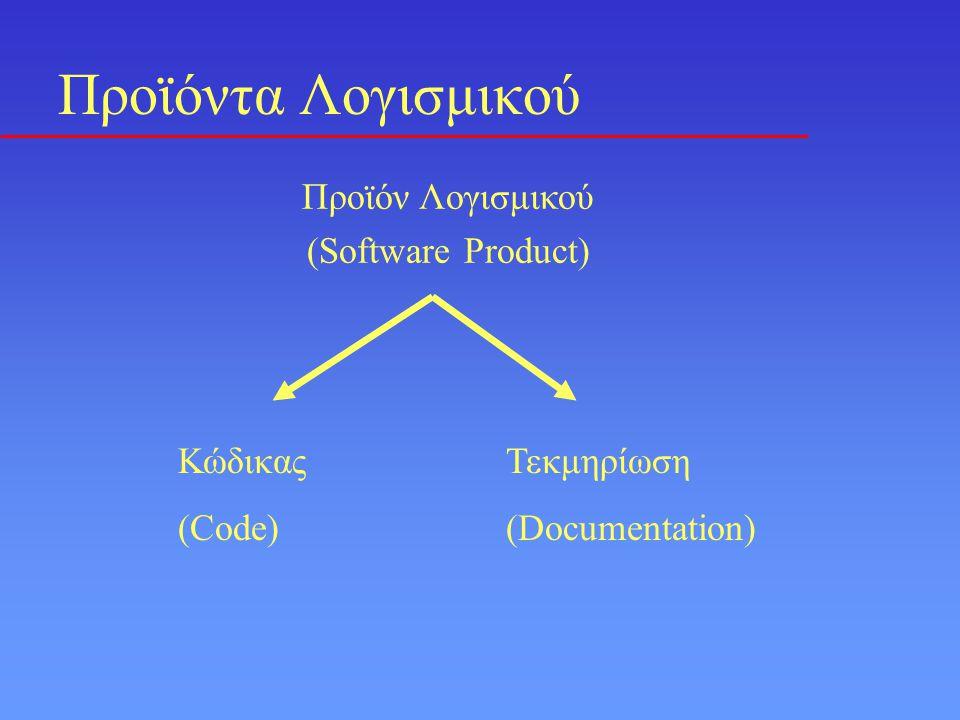 Προϊόντα Λογισμικού Προϊόν Λογισμικού (Software Product) Κώδικας