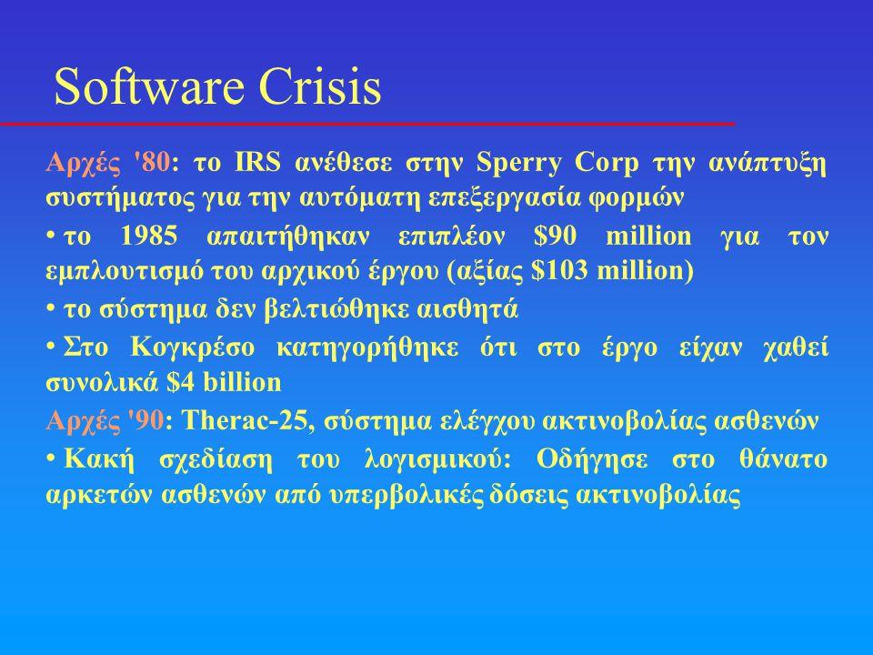 Software Crisis Αρχές 80: το IRS ανέθεσε στην Sperry Corp την ανάπτυξη συστήματος για την αυτόματη επεξεργασία φορμών.