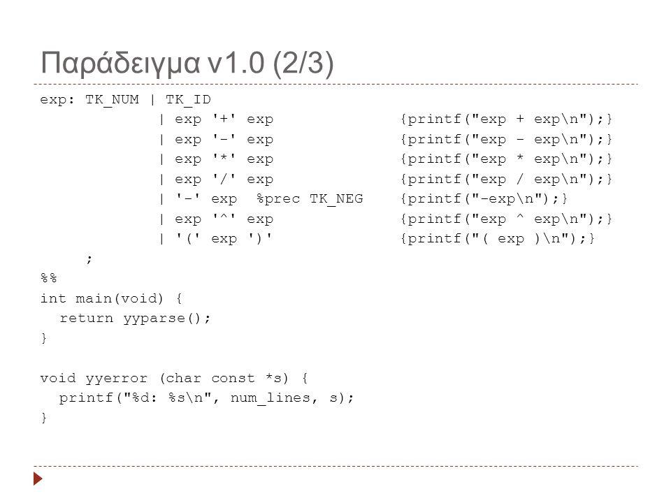 Παράδειγμα v1.0 (2/3) exp: TK_NUM | TK_ID