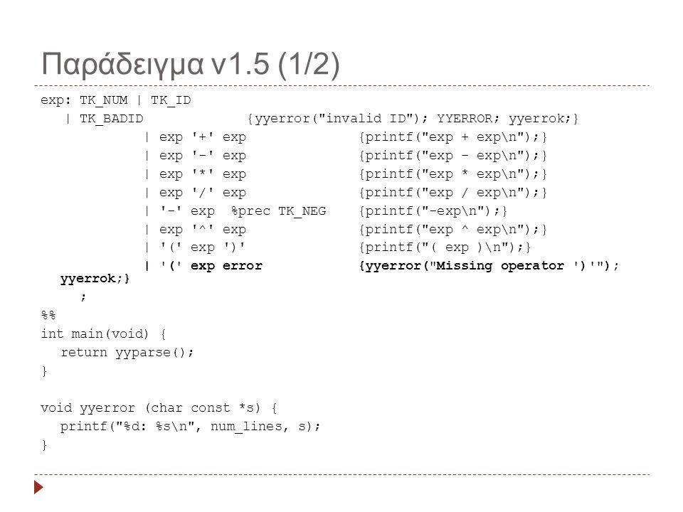 Παράδειγμα v1.5 (1/2) exp: TK_NUM | TK_ID