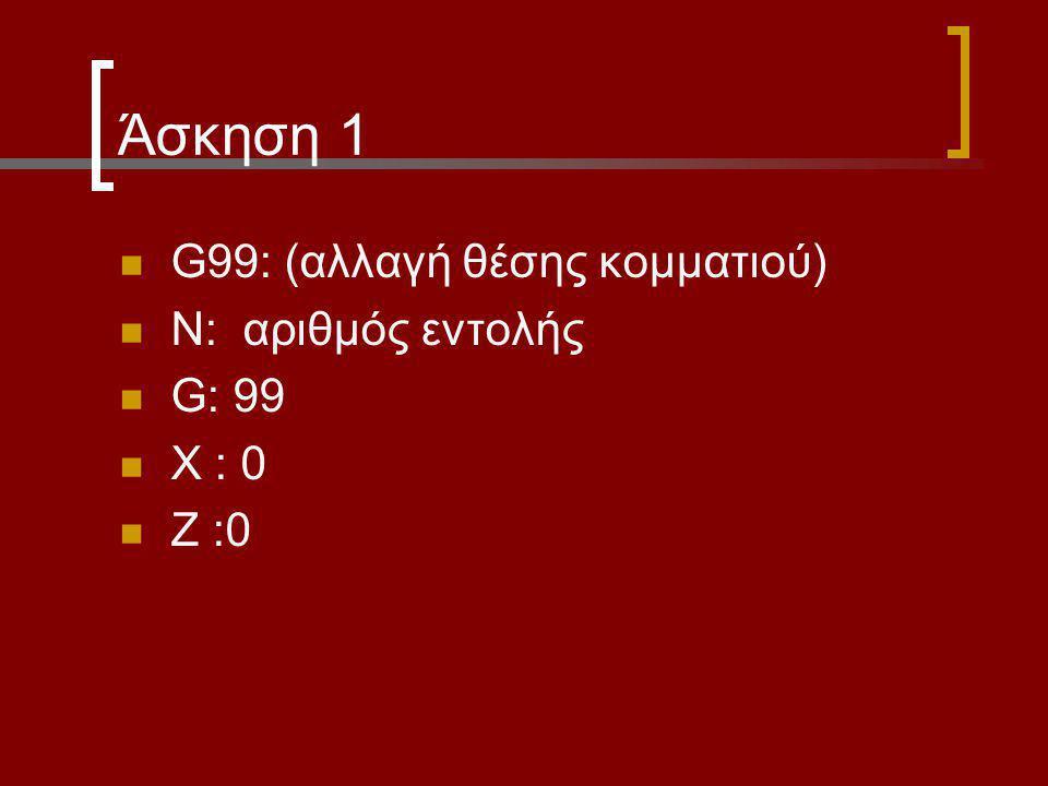 Άσκηση 1 G99: (αλλαγή θέσης κομματιού) Ν: αριθμός εντολής G: 99 Χ : 0
