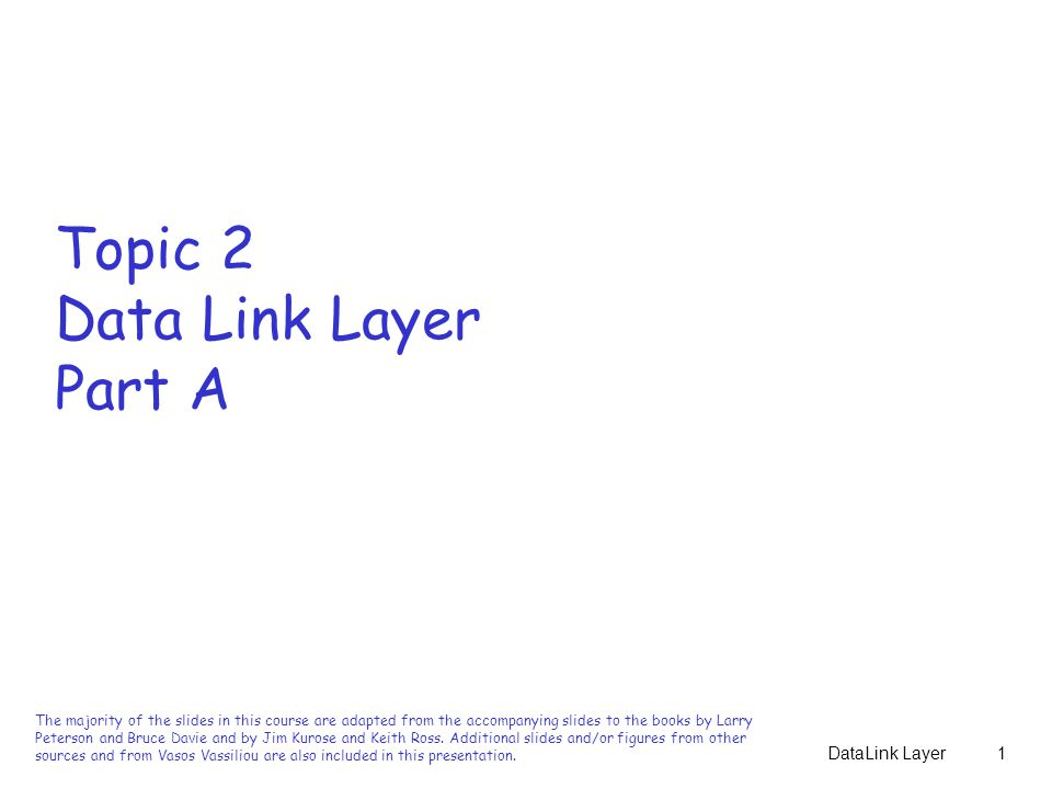 Topic 2 Data Link Layer Part A