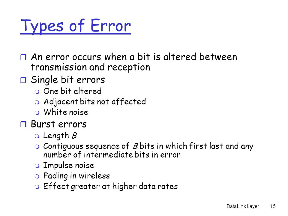 Types of Error An error occurs when a bit is altered between transmission and reception. Single bit errors.