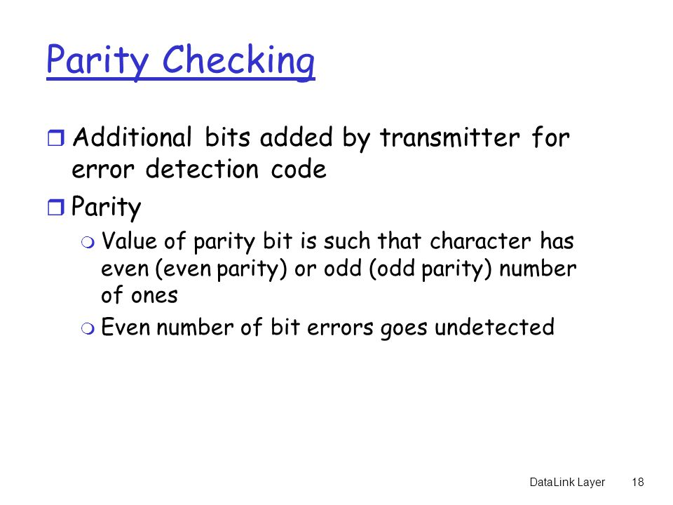 Parity Checking Additional bits added by transmitter for error detection code. Parity.