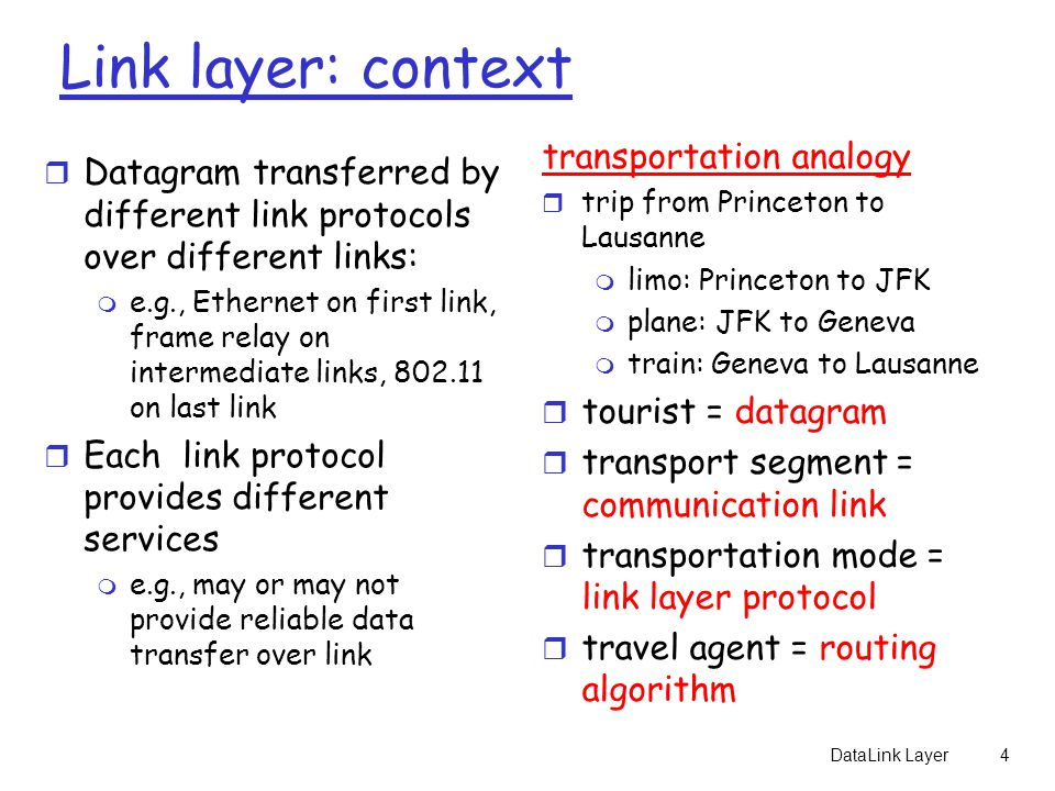 Link layer: context transportation analogy