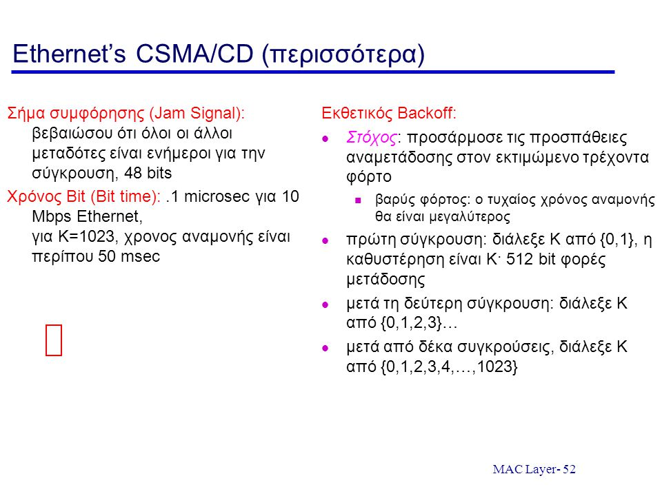 Ethernet's CSMA/CD (περισσότερα)