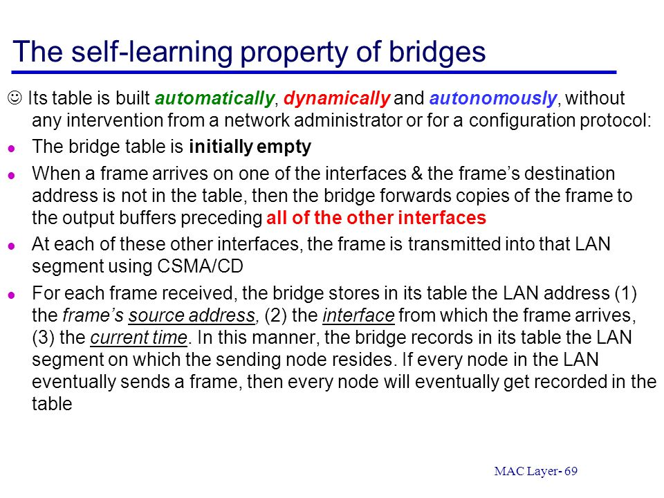 The self-learning property of bridges