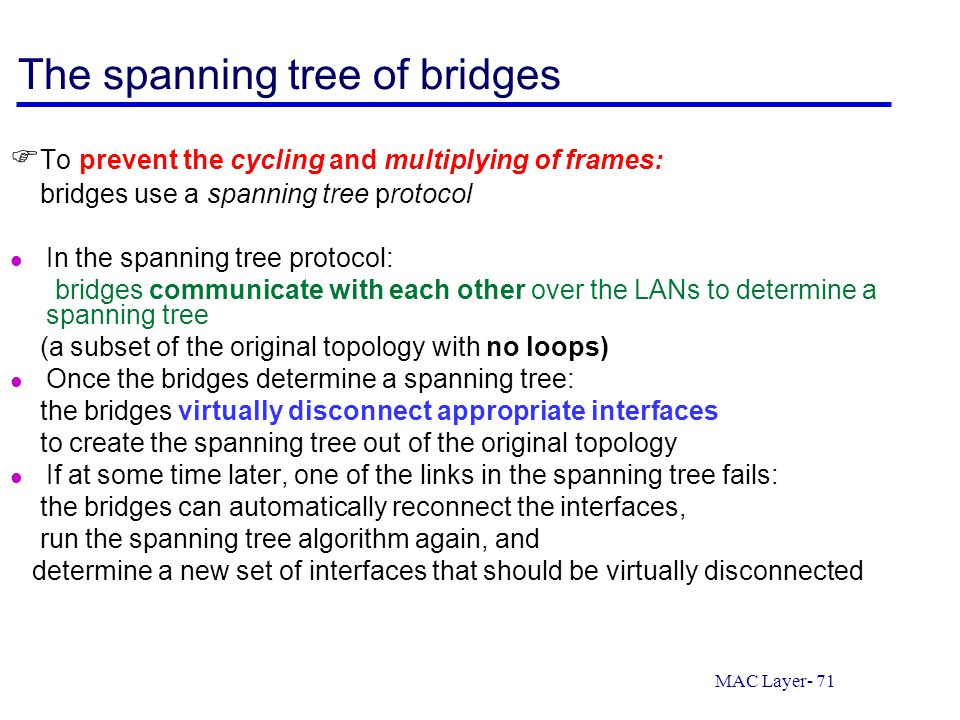 The spanning tree of bridges