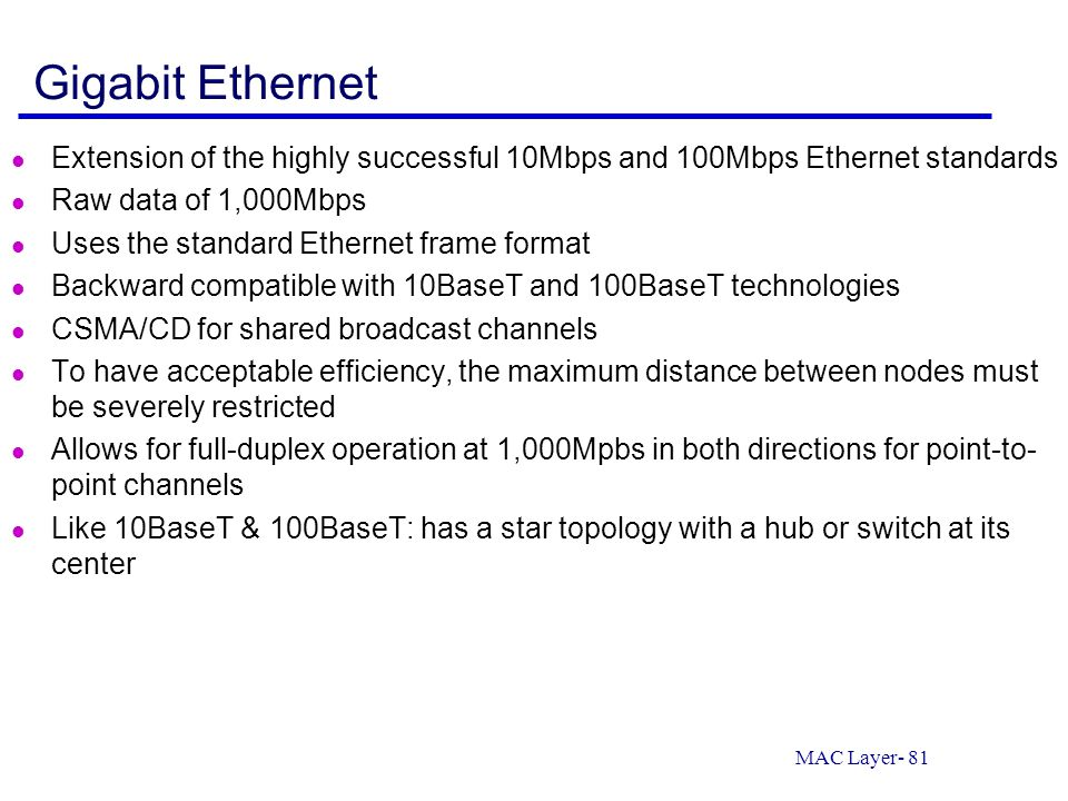 Gigabit Ethernet Extension of the highly successful 10Mbps and 100Mbps Ethernet standards. Raw data of 1,000Mbps.