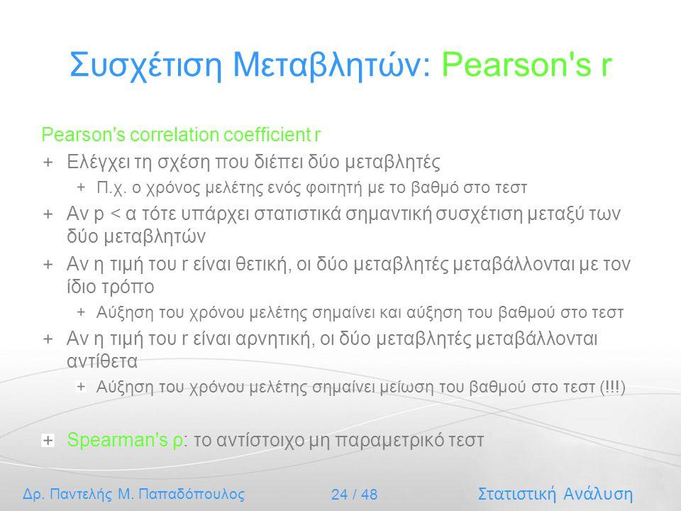 Συσχέτιση Μεταβλητών: Pearson s r