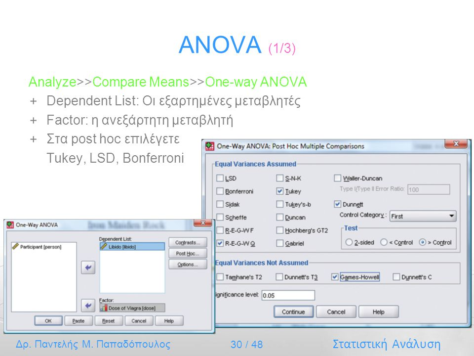 ANOVA (1/3) Analyze>>Compare Means>>One-way ANOVA