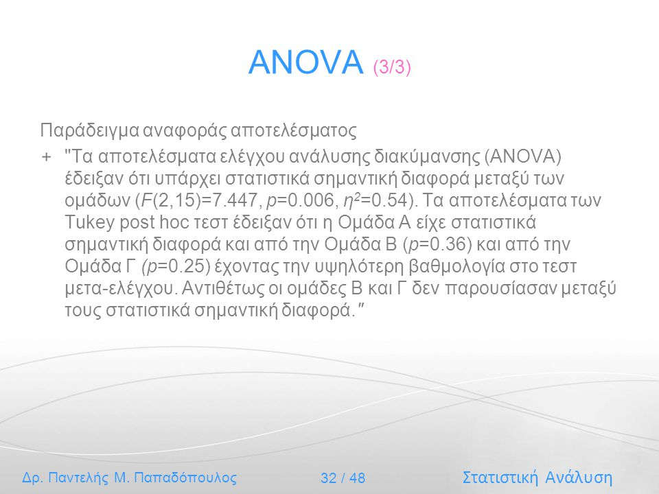 ANOVA (3/3) Παράδειγμα αναφοράς αποτελέσματος