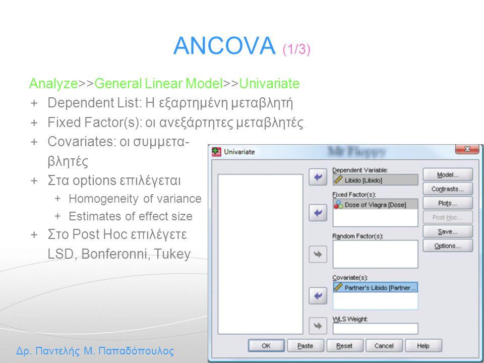 ANCOVA (1/3) Analyze>>General Linear Model>>Univariate