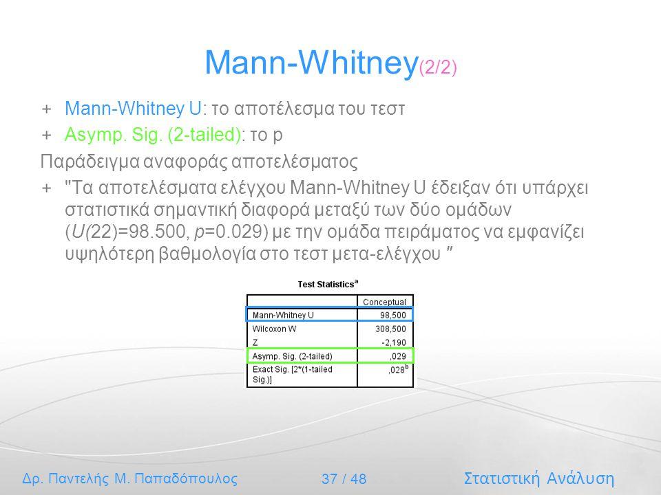 Mann-Whitney(2/2) Mann-Whitney U: το αποτέλεσμα του τεστ