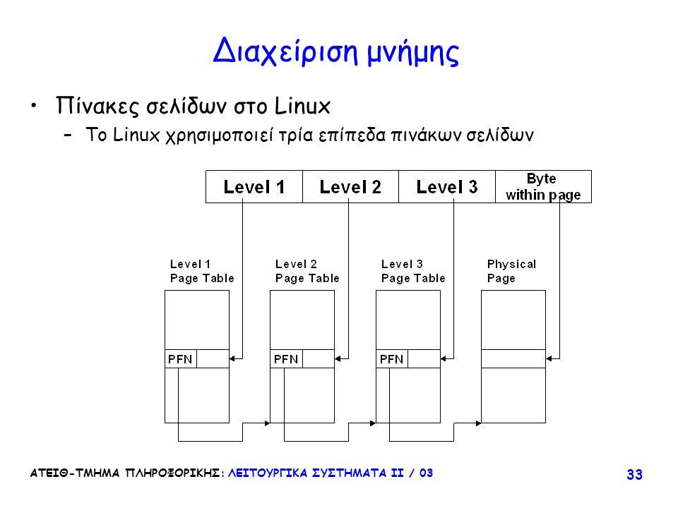 Διαχείριση μνήμης Πίνακες σελίδων στο Linux