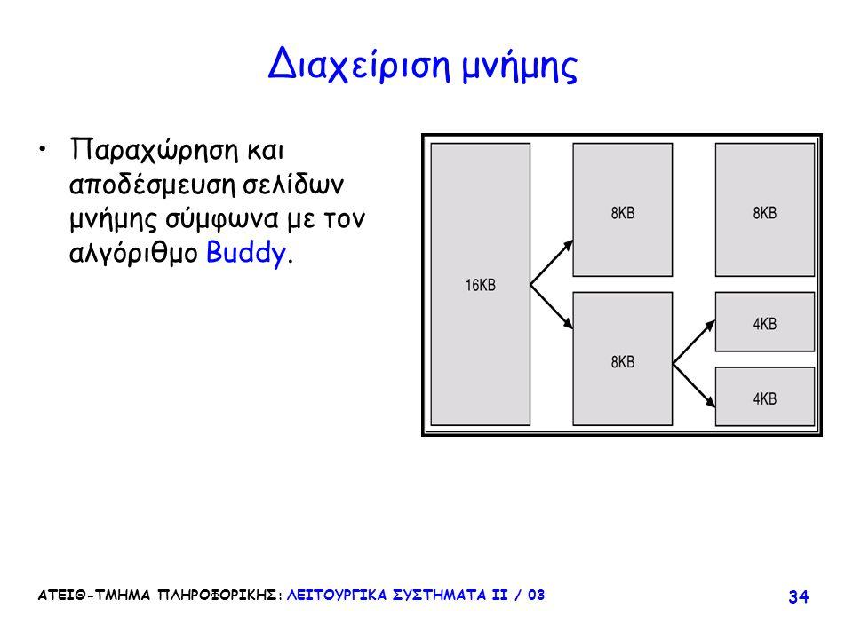Διαχείριση μνήμης Παραχώρηση και αποδέσμευση σελίδων μνήμης σύμφωνα με τον αλγόριθμο Buddy.