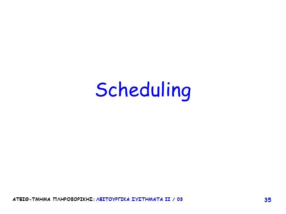 Scheduling ΑΤΕΙΘ-ΤΜΗΜΑ ΠΛΗΡΟΦΟΡΙΚΗΣ: ΛΕΙΤΟΥΡΓΙΚΑ ΣΥΣΤΗΜΑΤΑ ΙΙ / 03