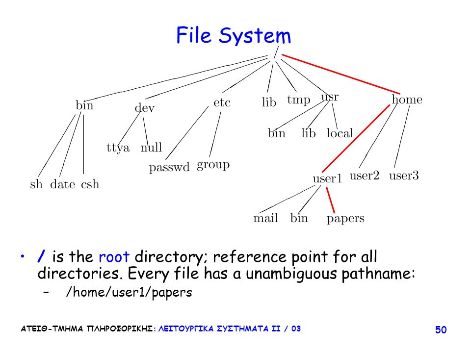 File System / is the root directory; reference point for all directories. Every file has a unambiguous pathname: