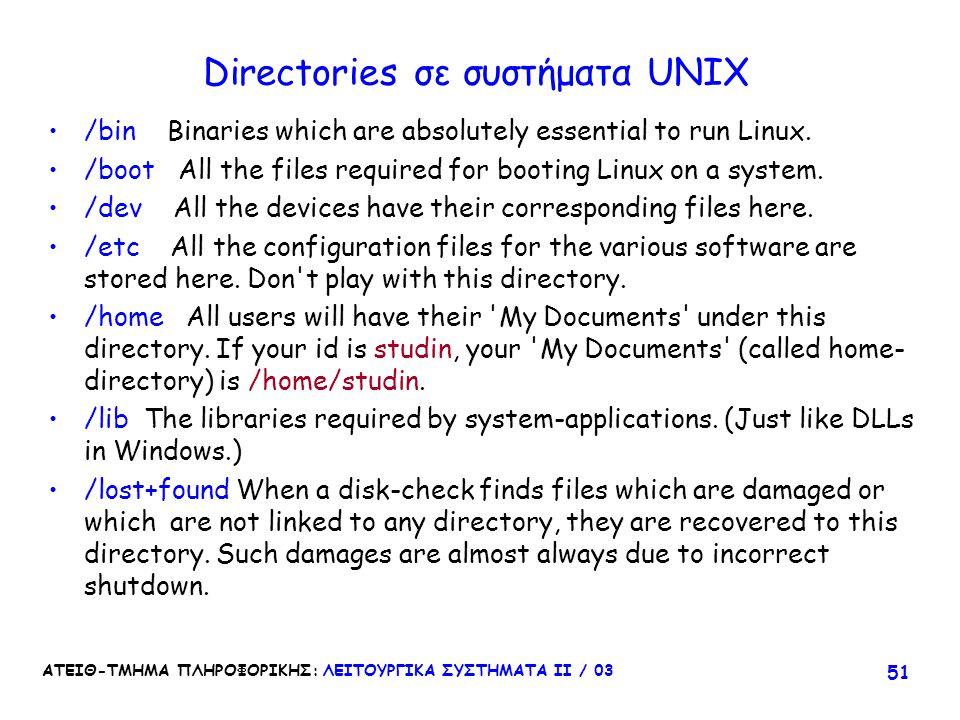 Directories σε συστήματα UNIX