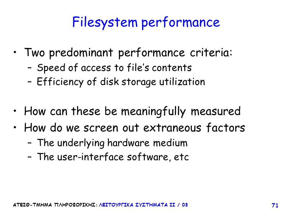 Filesystem performance