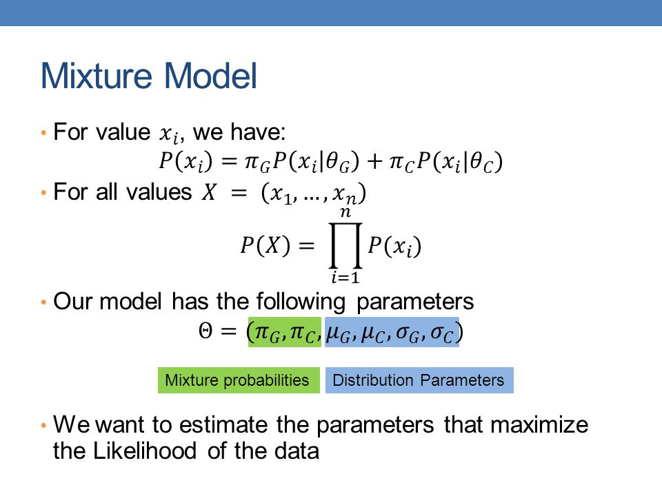 Mixture Model For value 𝑥 𝑖 , we have: