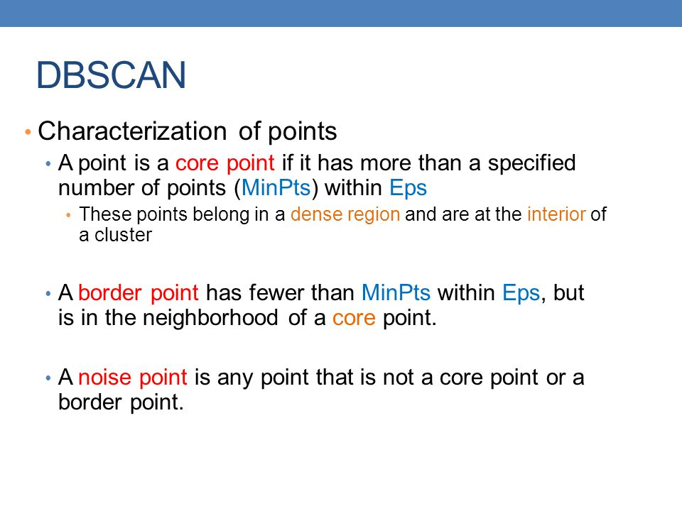 DBSCAN Characterization of points