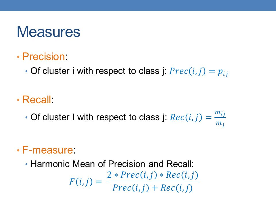 Measures Precision: Recall: F-measure: