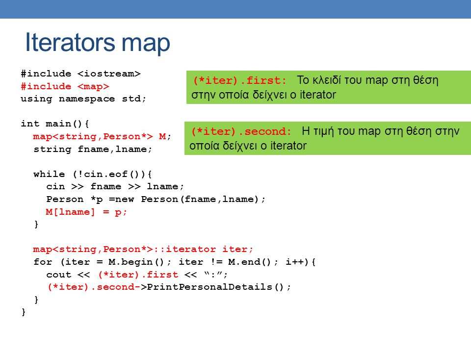 Iterators map #include <iostream> #include <map> using namespace std; int main(){ map<string,Person*> M;