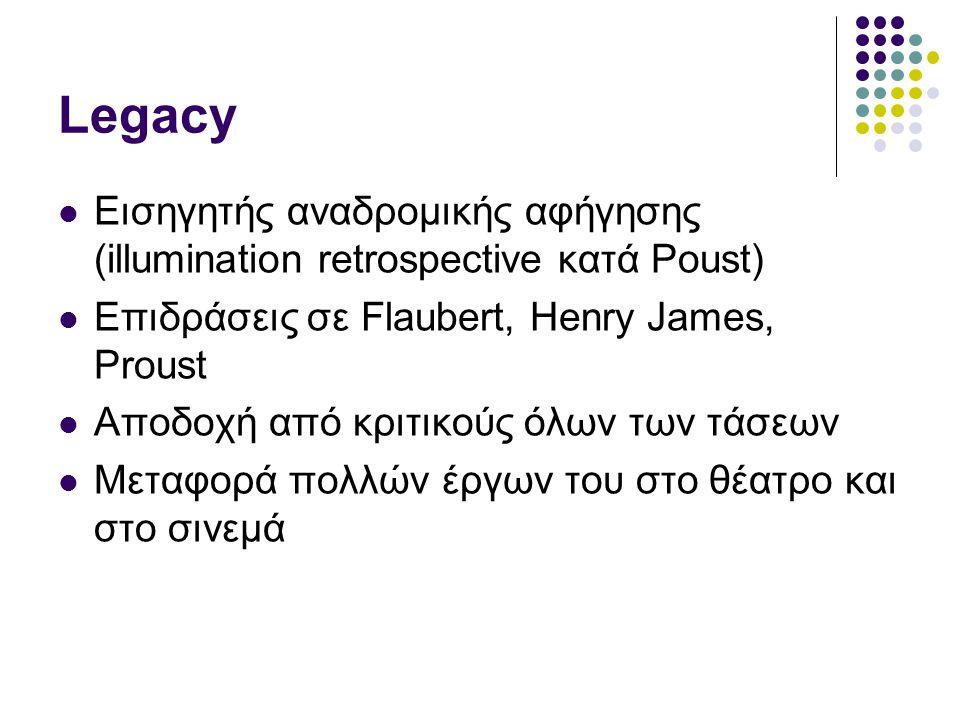 Legacy Εισηγητής αναδρομικής αφήγησης (illumination retrospective κατά Poust) Επιδράσεις σε Flaubert, Henry James, Proust.