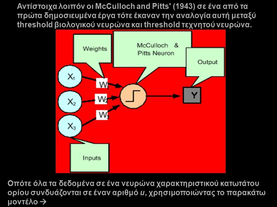 Αντίστοιχα λοιπόν οι McCulloch and Pitts (1943) σε ένα από τα