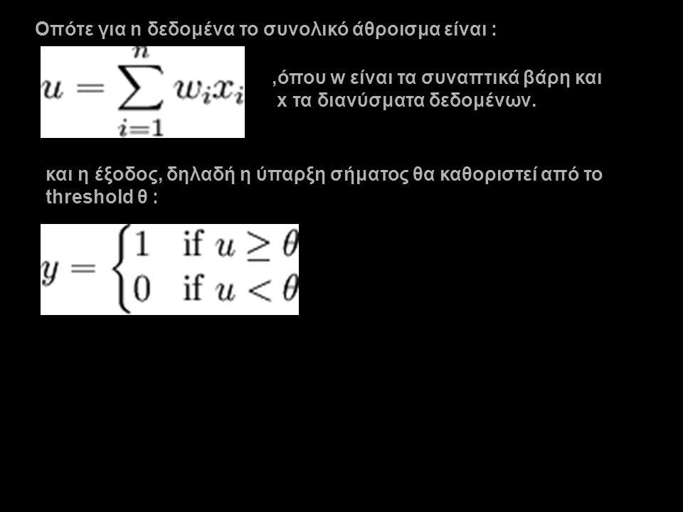 Οπότε για n δεδομένα το συνολικό άθροισμα είναι :