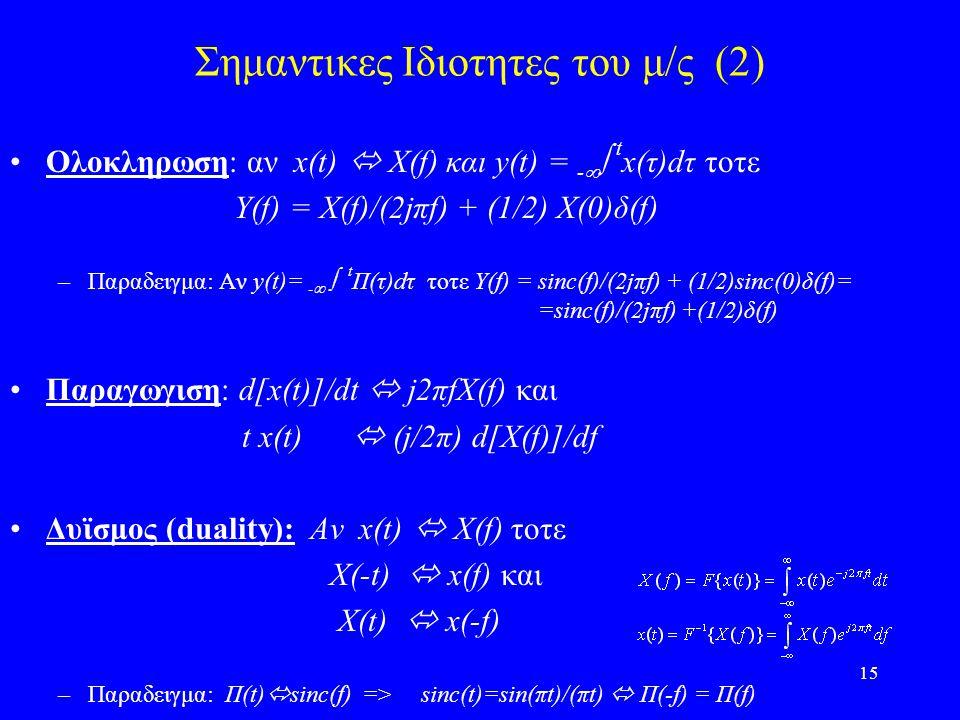 Σημαντικες Ιδιοτητες του μ/ς (2)