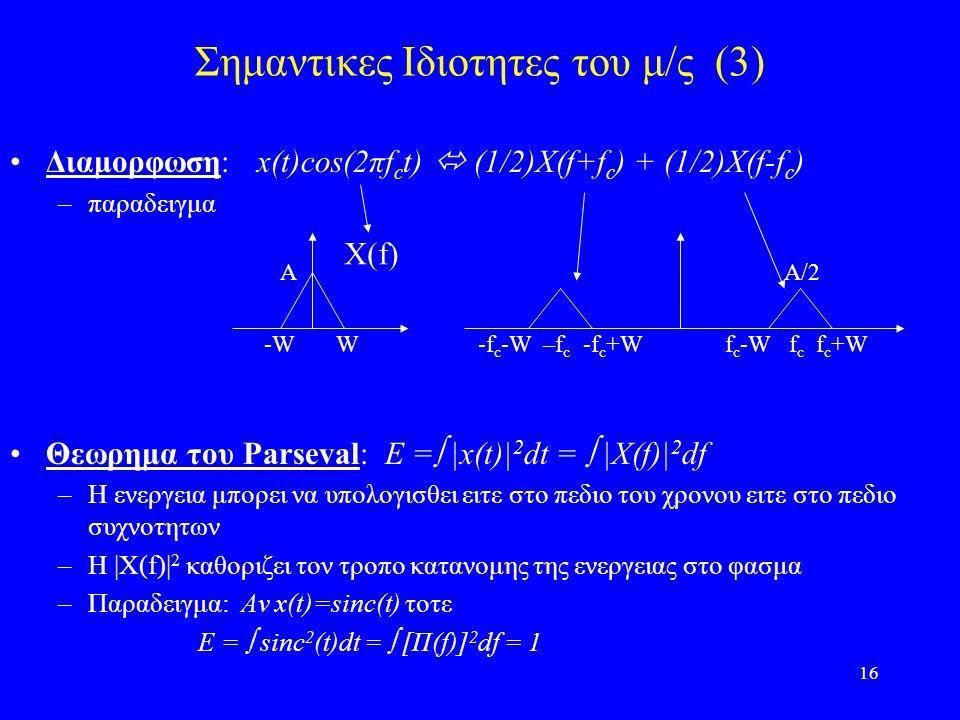 Σημαντικες Ιδιοτητες του μ/ς (3)