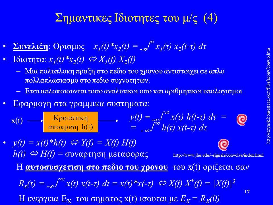 Σημαντικες Ιδιοτητες του μ/ς (4)