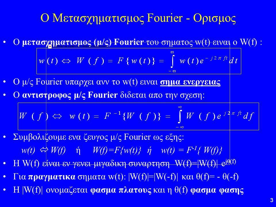 O Μετασχηματισμος Fourier - Ορισμος