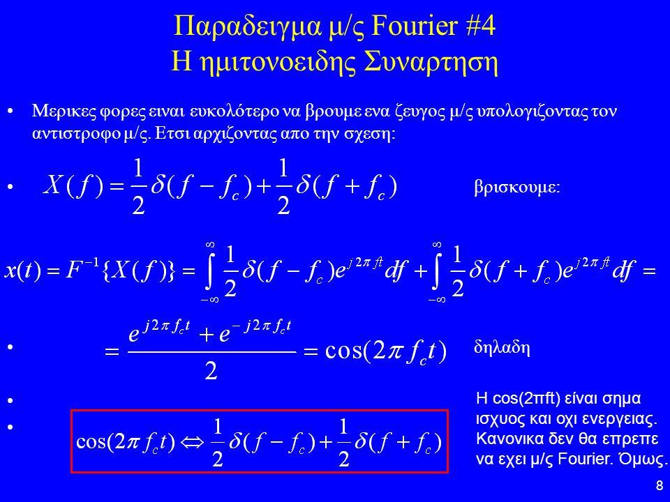 Παραδειγμα μ/ς Fourier #4 Η ημιτονοειδης Συναρτηση