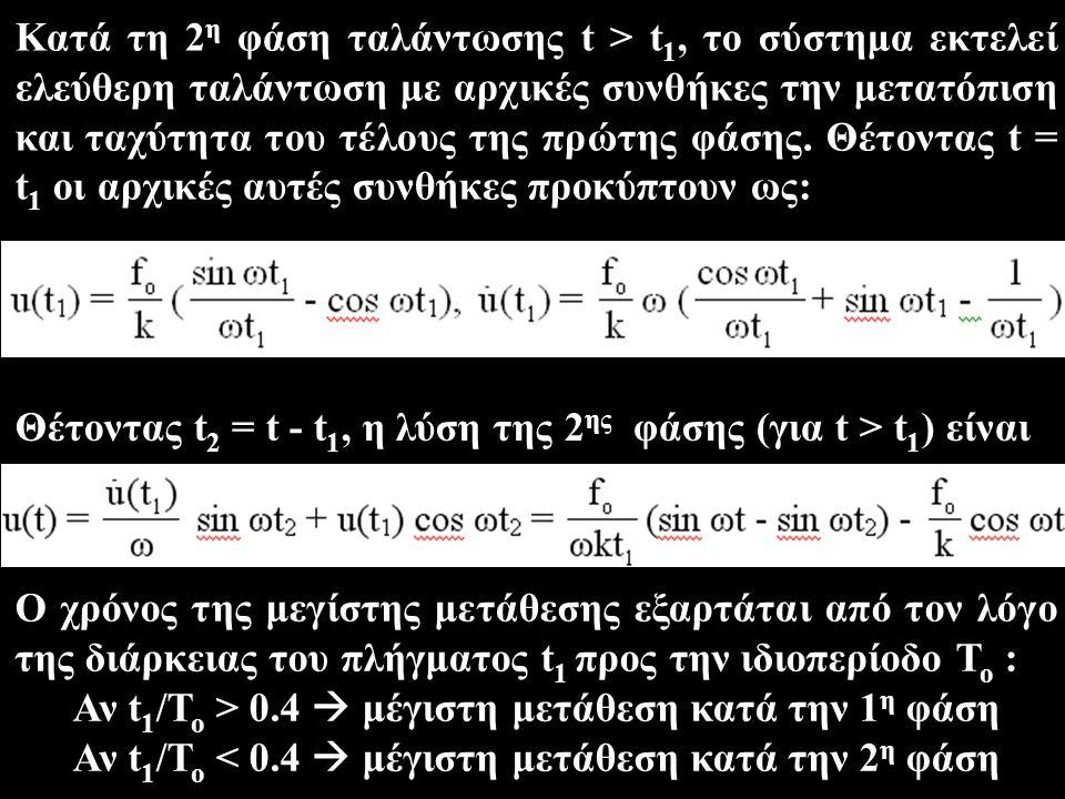 Θέτοντας t2 = t - t1, η λύση της 2ης φάσης (για t > t1) είναι