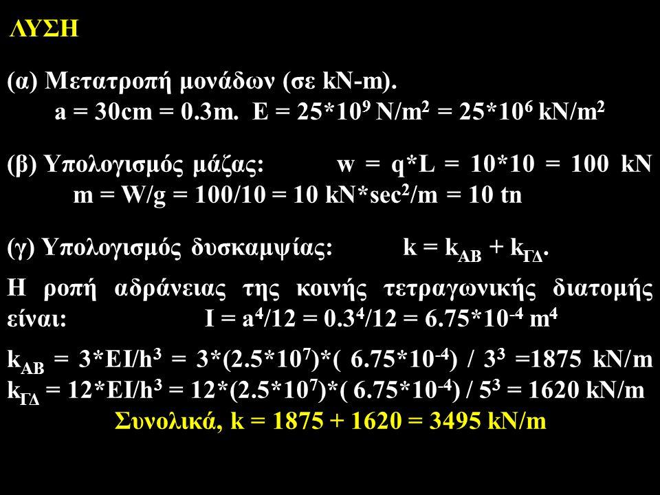 ΛΥΣΗ (α) Μετατροπή μονάδων (σε kN-m). a = 30cm = 0.3m. Ε = 25*109 N/m2 = 25*106 kN/m2.