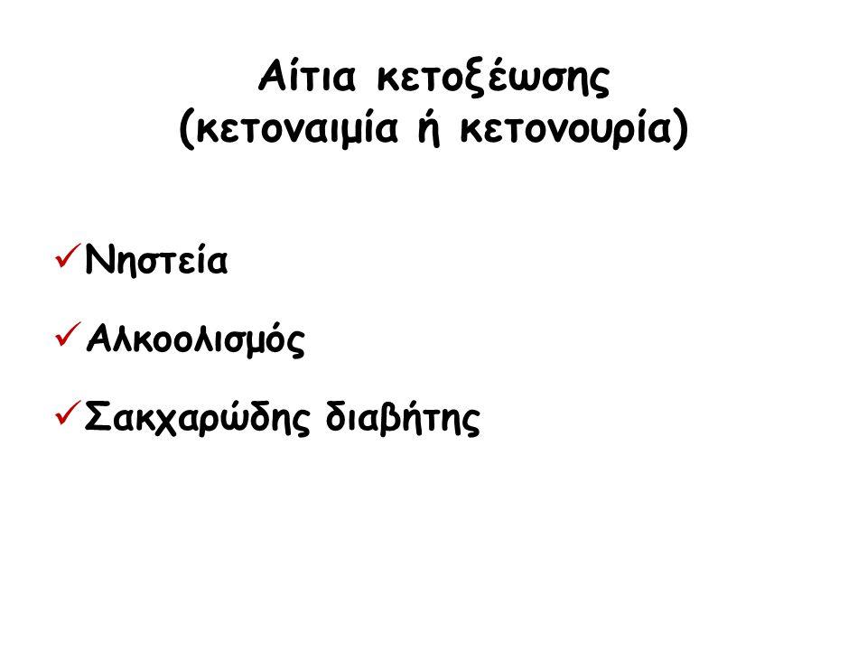 Αίτια κετοξέωσης (κετοναιμία ή κετονουρία)