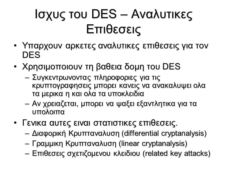 Ισχυς του DES – Αναλυτικες Επιθεσεις