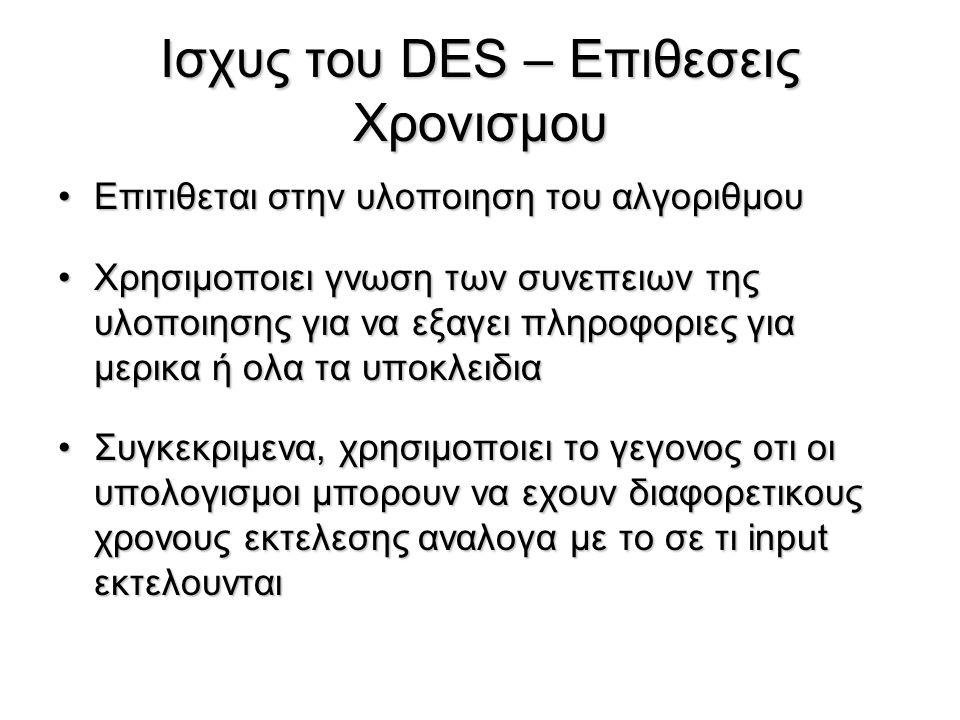 Ισχυς του DES – Επιθεσεις Χρονισμου