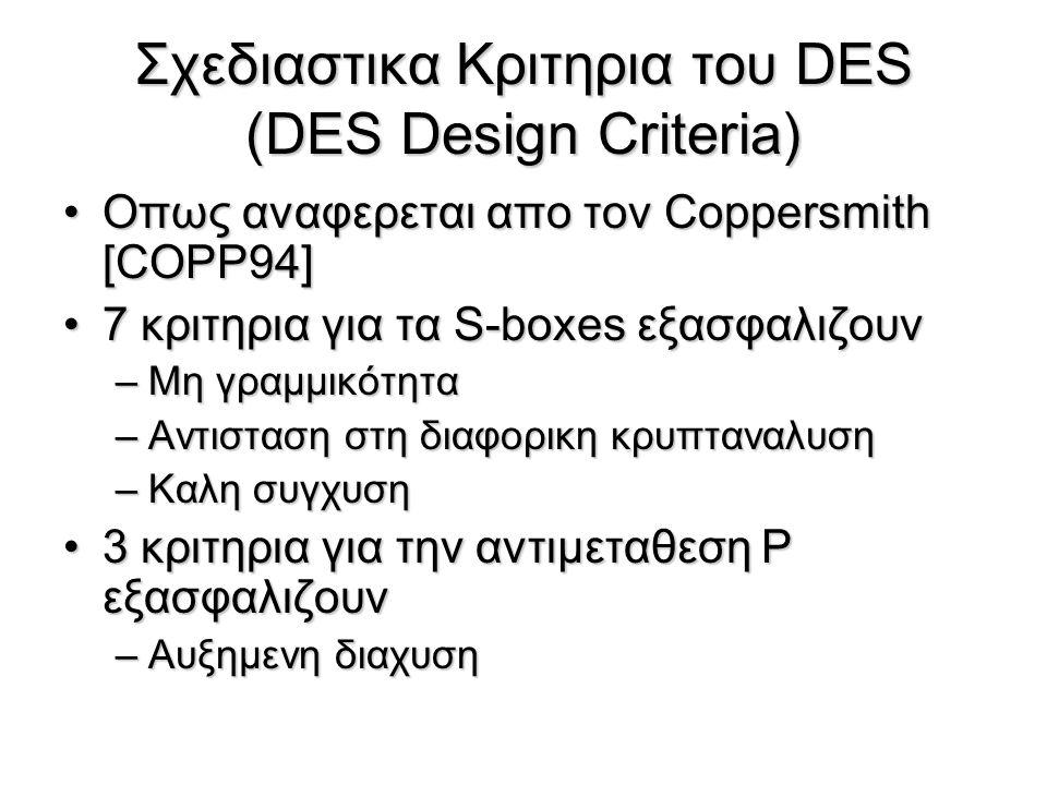 Σχεδιαστικα Κριτηρια του DES (DES Design Criteria)