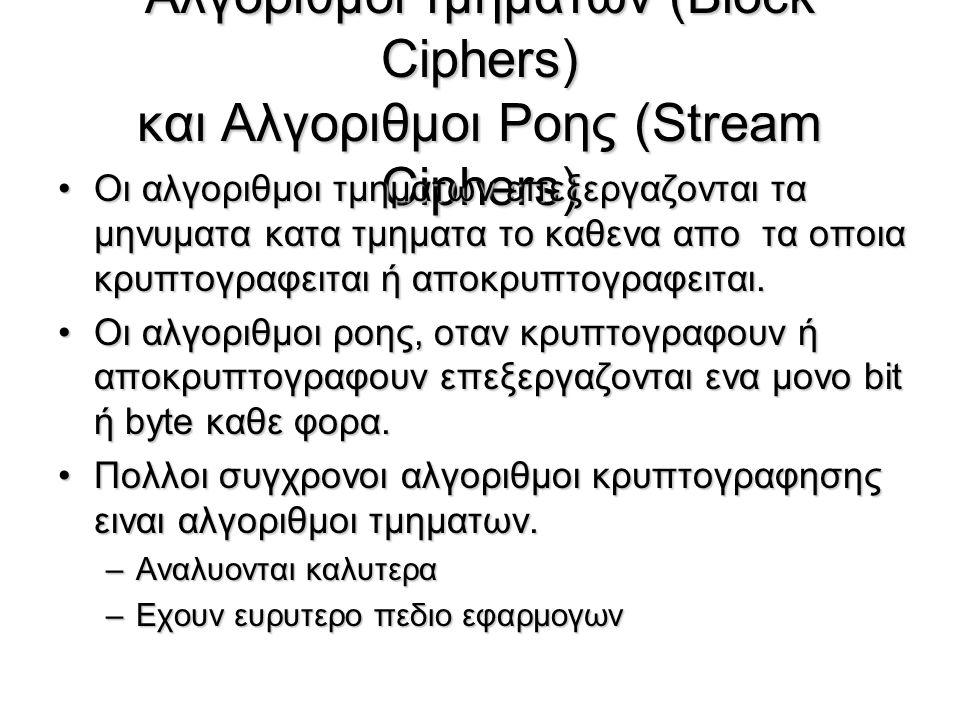 Αλγοριθμοι τμηματων (Βlock Ciphers) και Αλγοριθμοι Ροης (Stream Ciphers)