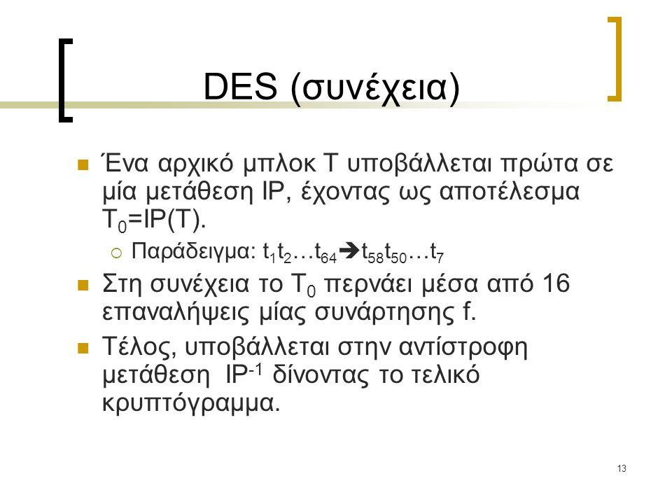 DES (συνέχεια) Ένα αρχικό μπλοκ T υποβάλλεται πρώτα σε μία μετάθεση IP, έχοντας ως αποτέλεσμα T0=IP(T).